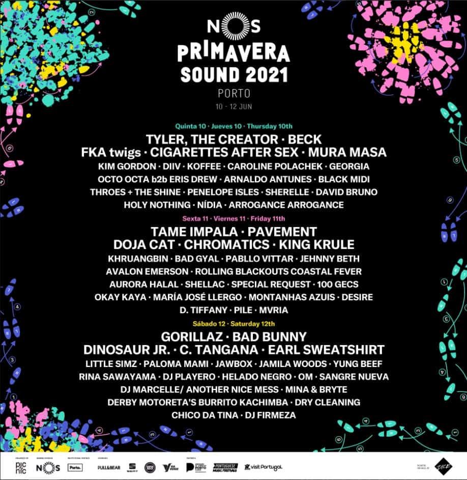 Cartaz oficial do Primavera Nos Sound 2021 Porto festival de verão